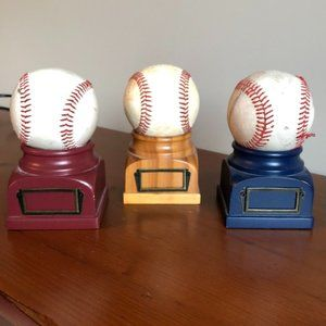 Land Of Nod Wood Baseball Stands- set of 3 - Rare